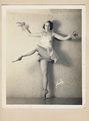 Aunt Ruth in a semi-ballet pose